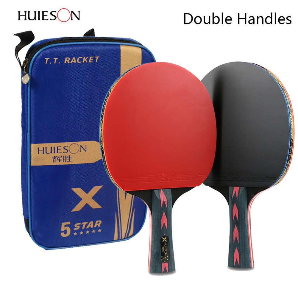 2Pcs Upgraded 5 Star Carbon Table Tennis Racket Set Lightweight Powerful Ping Pong Paddle Bat