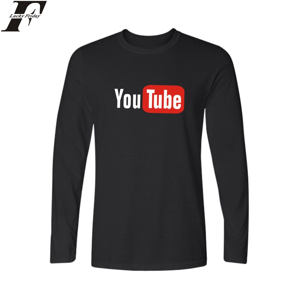 Design t shirt youtube - Luckyfridayf New Design Breaking Youtube Funny Logo Long Sleeve T Shirt Men Hip Hop Black