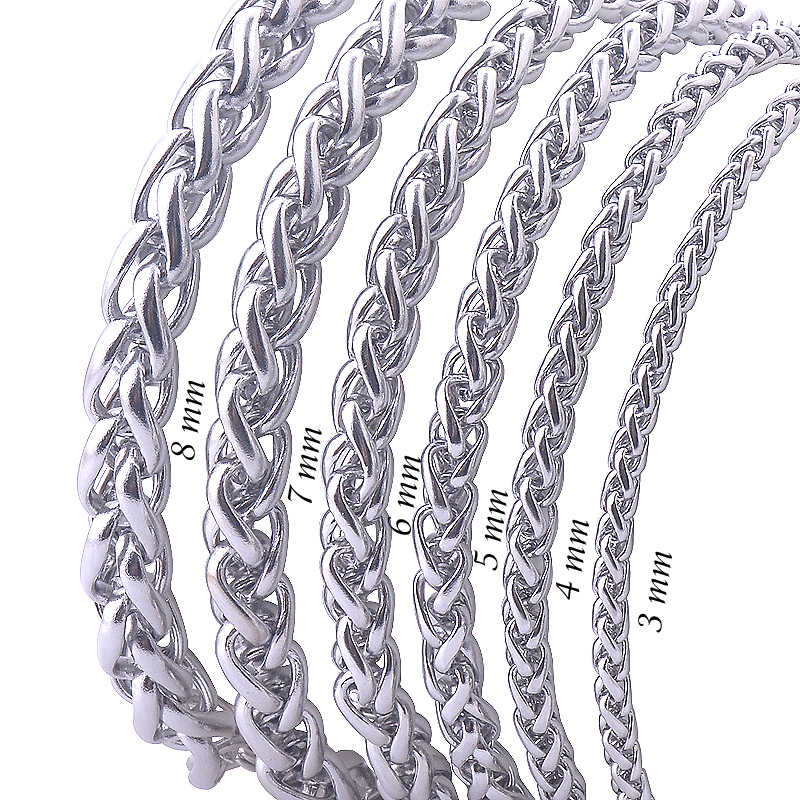 Never Fade Stainless Steel Men Necklace Chain 3 4 5 6 7 8MM High Quality Link Chain Necklaces Wholesale