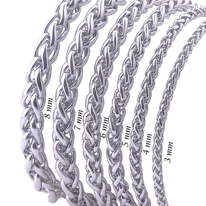 Never Fade Stainless Steel Men Necklace Chain 3 4 5 6 7 8MM High Quality Link Chain Necklaces Wholesale(China)