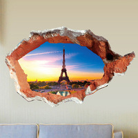 3D Through Brick To Paris Eiffel Tower Wall Sticker Bedroom Living Room Wall Decals Kids Room