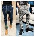 Мужской ХИП-ХОП Низкое Падение промежность брюки мужчины джинсы хип-хоп sarouel мужчины jogger брюки шаровары свободные брюки шаровары брюки