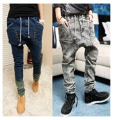male HIPHOP Low Drop crotch pants men denim Jeans hip hop sarouel men jogger pants baggy trousers loose pantalon harem pants