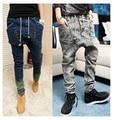 male HIPHOP Low Drop crotch pants men denim Jeans hip hop sarouel men jogger pants baggy trousers loose pantalon harem pants