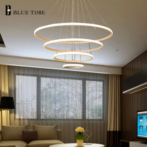 Image 3 - Creative מודרני בית LED עבור סלון חדר שינה אוכל חדר לבן & שחור & זהב & קפה מעגל מסגרת LED נברשות AC 110V 220V