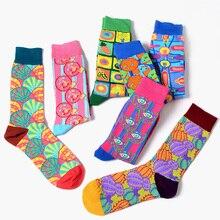 Мода красочные мужчин новинка Свадебные носки хлопок жаккард пищевой Носки мужские длинные смешные носки для груза падения