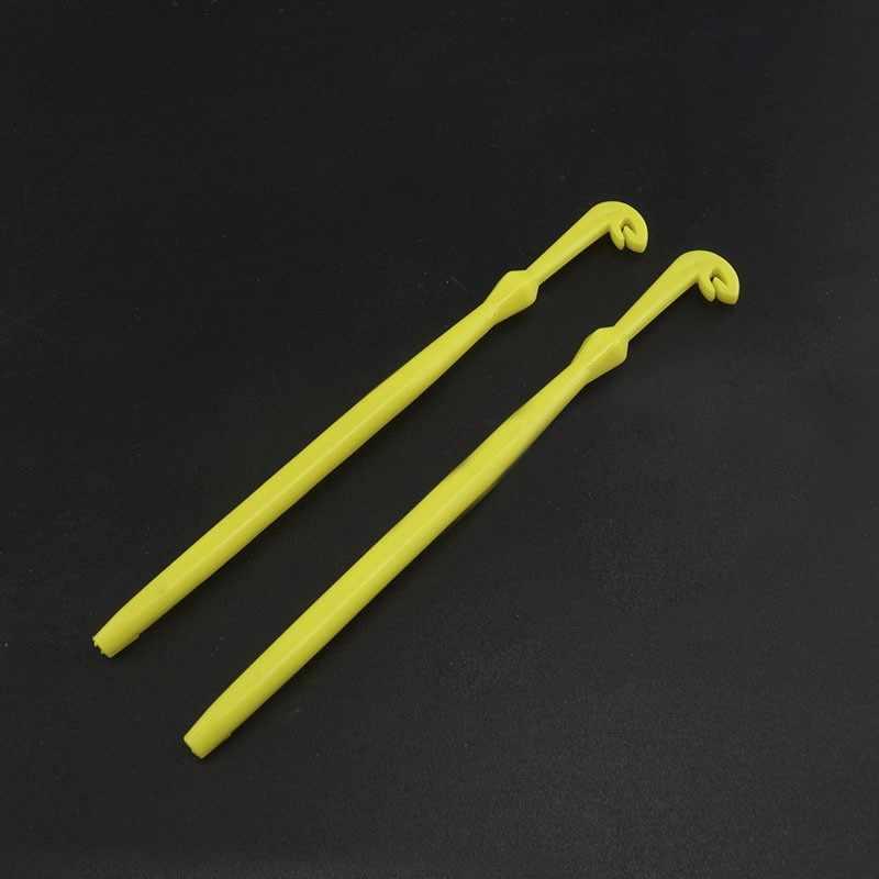2 ピースプラスチック簡単フックループ釣りツールネクタイ高速結び目ためフックツールライン層キット黄色