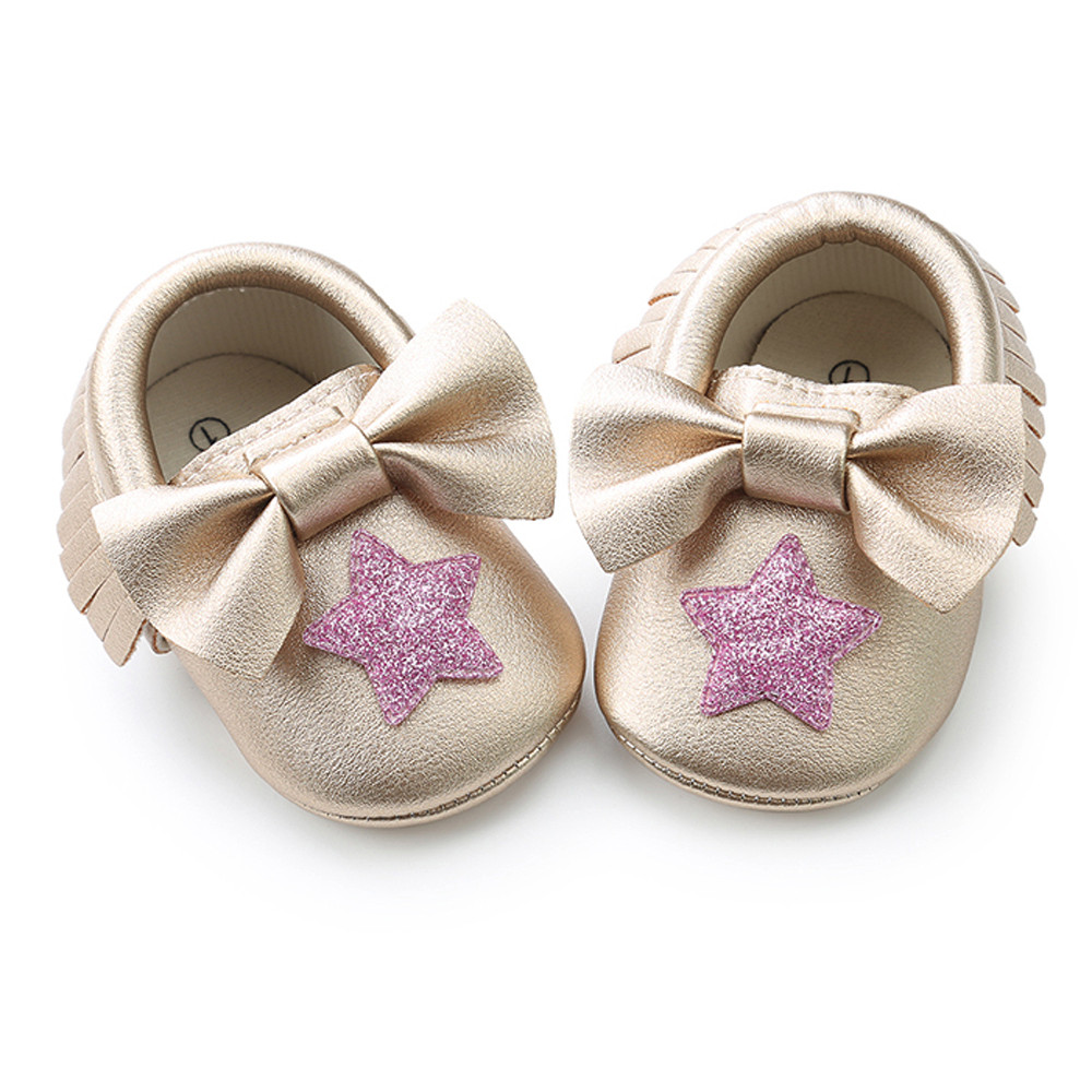 Lovely Baby Girl shoes shiny Sequins Bowknot Star Tassel Fashion Toddler First Walkers K ...