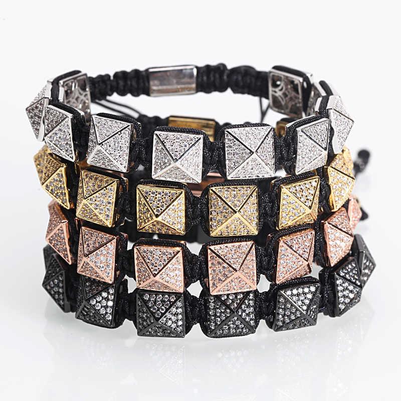 Bransoleta ze stali nierdzewnej mężczyzn/Punk/Rock/spike/metal/mężczyźni/kobiety/piramida/Handmade/pleciony /bransoletka modny femme homme spersonalizowana biżuteria prezent