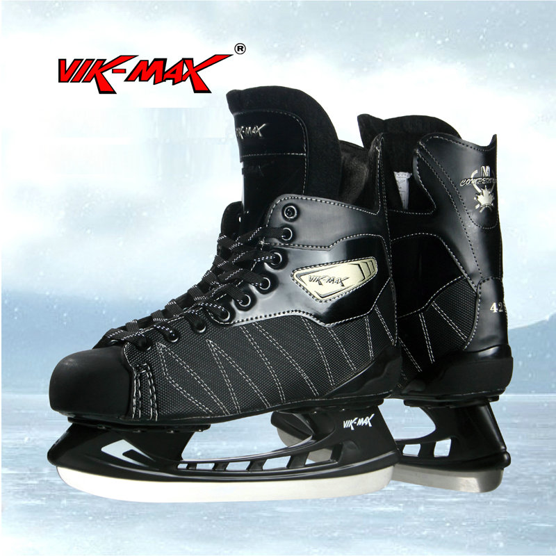 VIK-MAX black hockey skate shoes stainless ice blade adult kids ice hocky skate shoes кенгуру picture organic basement skate black
