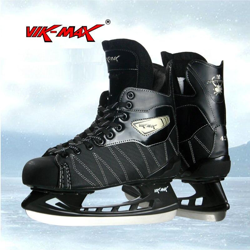 Prix pour VIK-MAX noir chaussures de patins de hockey inoxydable glace lame adulte enfants glace hocky skate chaussures
