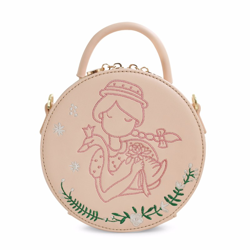 2016 Hot Lady Baby Pink Circular Fashion Solid Bags Princess Faux Leather PU Women\'s Handbags Messenger Crossbody Bags Totes