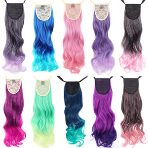 "MapofBeauty 20"" long curly clip in hair Ponytail Length Ribbon hair extensions ombre Rainbow Pony Tail synthetic Fake Hair Piece(China)"