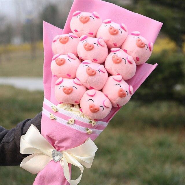 FLYDREAM Neue Cartoon Geschenk Box 11 Rosa Ferkel Rose Bouquet Geschenk Box  Kreative Weihnachten Valentinstag Geburtstag