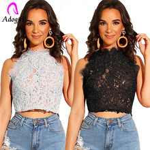 Adogirl lace knitted floral patchwork short tops for lady European style zip-up crop top Lace sleeveless T-shirt zip up cutwork lace crop top