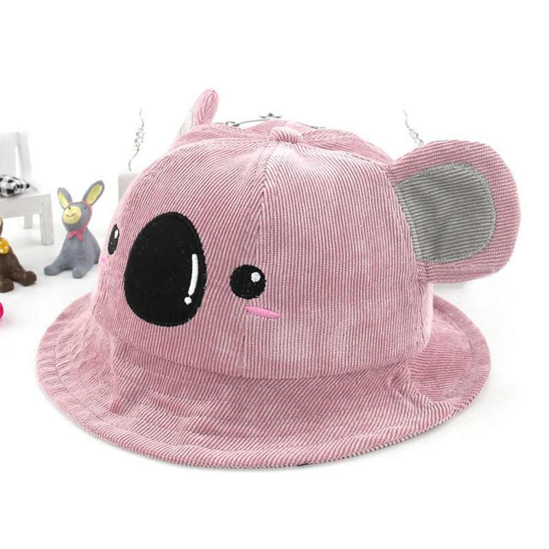 8eb03d7ccc6 ... Winter Spring Cotton Baby Bucket Hat Cute Koala Pattern Big Ears Kids  Girls Beach Sun Hats ...