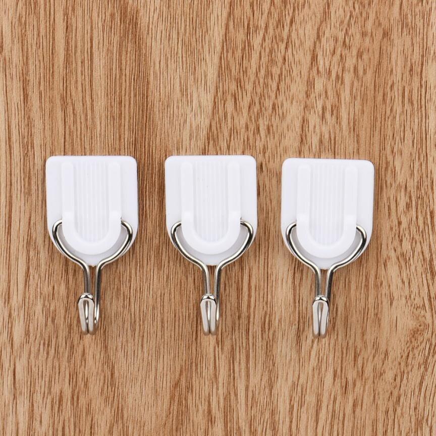 6 Stuks Witte Zelfklevende Haak Muur Haak Hanger Plastic Kleverige