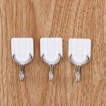 6 pc'er hvid klæbende kroge vægkrog hængende plast klæbende dørklædeskroge holder til tøj håndklædebeklædning badeværelse køkken # 10