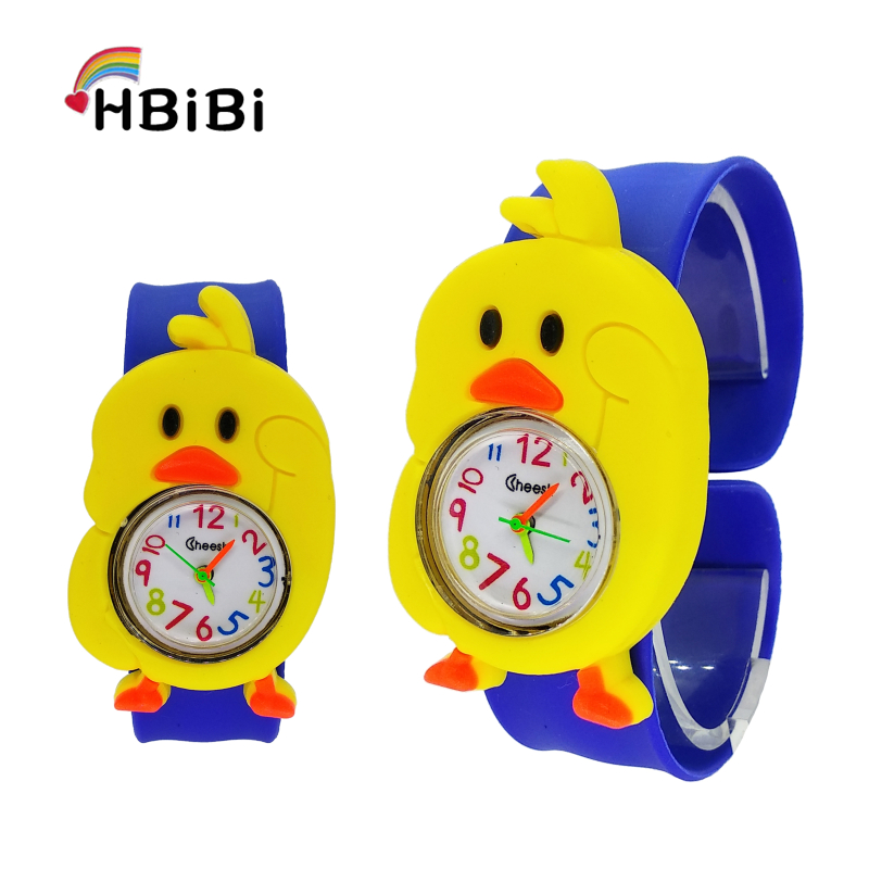 Cute Little Yellow Chicken Watch Children Kids Clock Slap Strap Quartz Waterproof Watches For Girls Boys Baby Birthday Gift