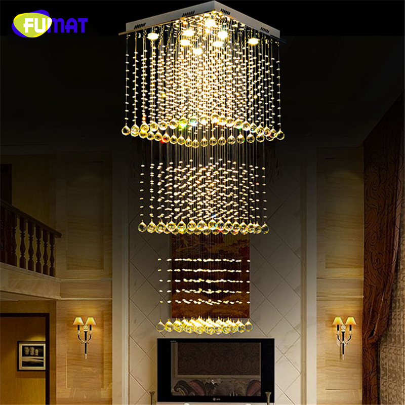 FUMAT k9 Crystal Chadeliers Modern K9 Crystal LED Art Fashion Hotel Project Stairs Lamp Living Room Lustre Ceiling Light Fixture new arrival k9 crystal pendant light modern fashion single light led dining room hotel project lustre suspension drop light