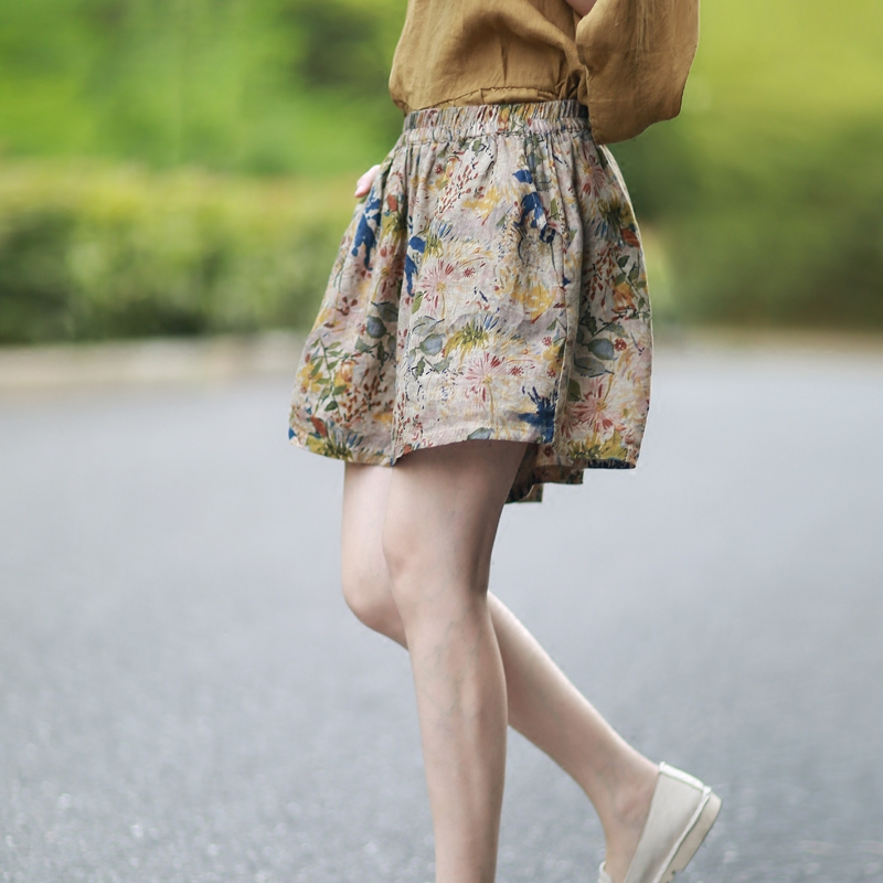 Spring Summer Women Casual Comfortable Loose Plus Size Elastic Waist All-match Floral Print Thin Linen Shorts