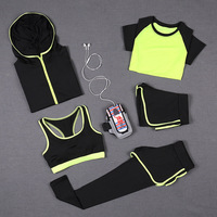 5 PCS Women Yoga Set For Running T Shirt Tops Sports Bra Vest Fitness Pants Short