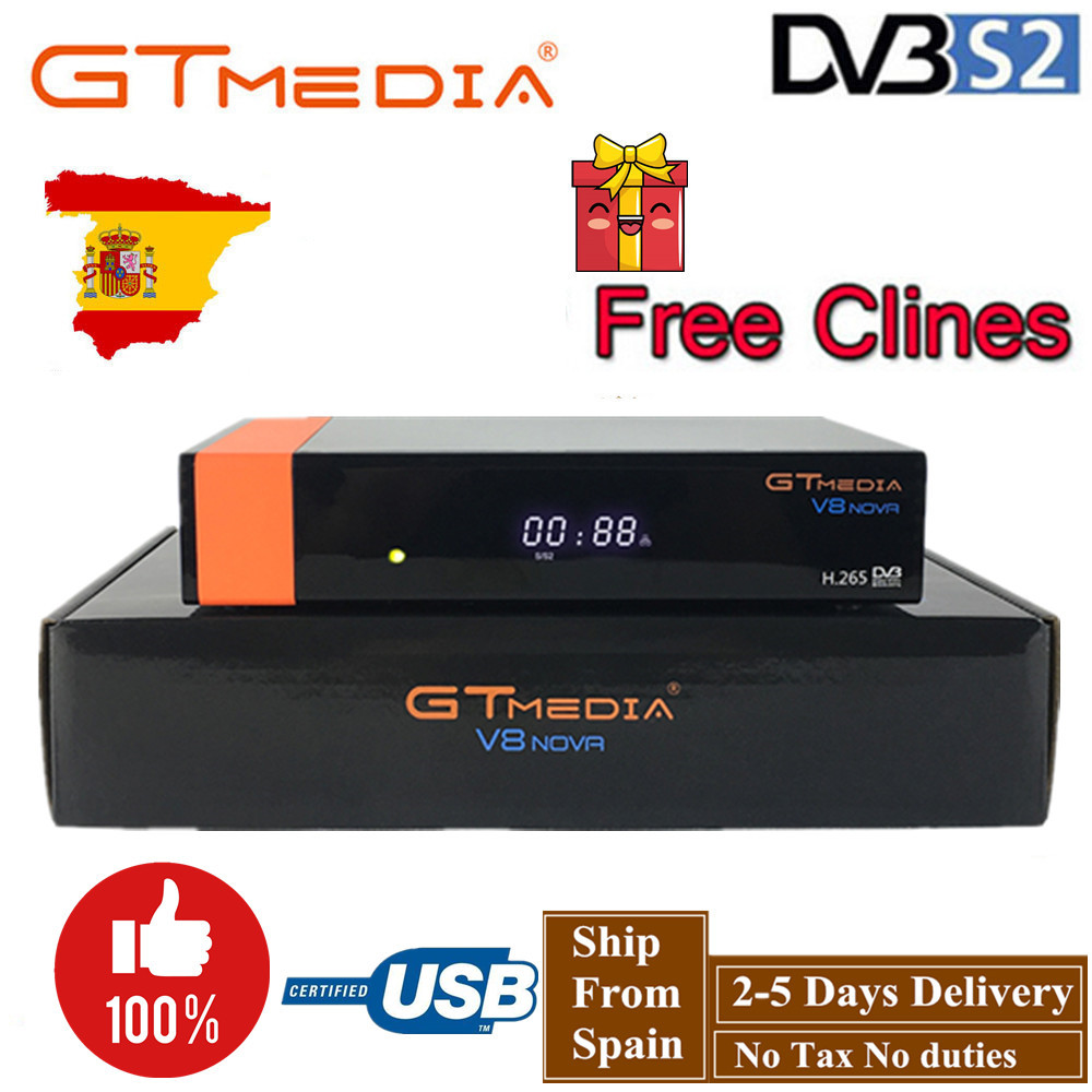 GT Media V8 Nova DVB-S2 Freesat V7s hd Satellite Receiver H.265 Built-in WIFI+1 Year Europe Spain CCcam New Version of V8 Super
