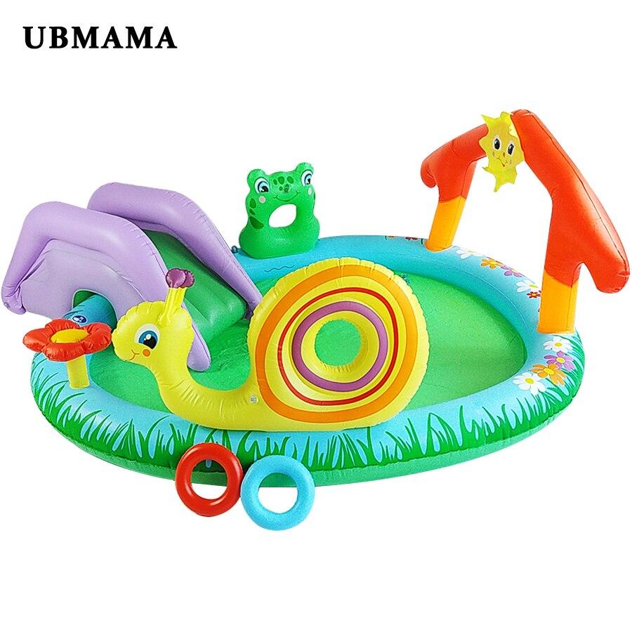Lovely cartoon garden pool children slide inflatable swimming pool automatic thickening material sprinkler pond цена