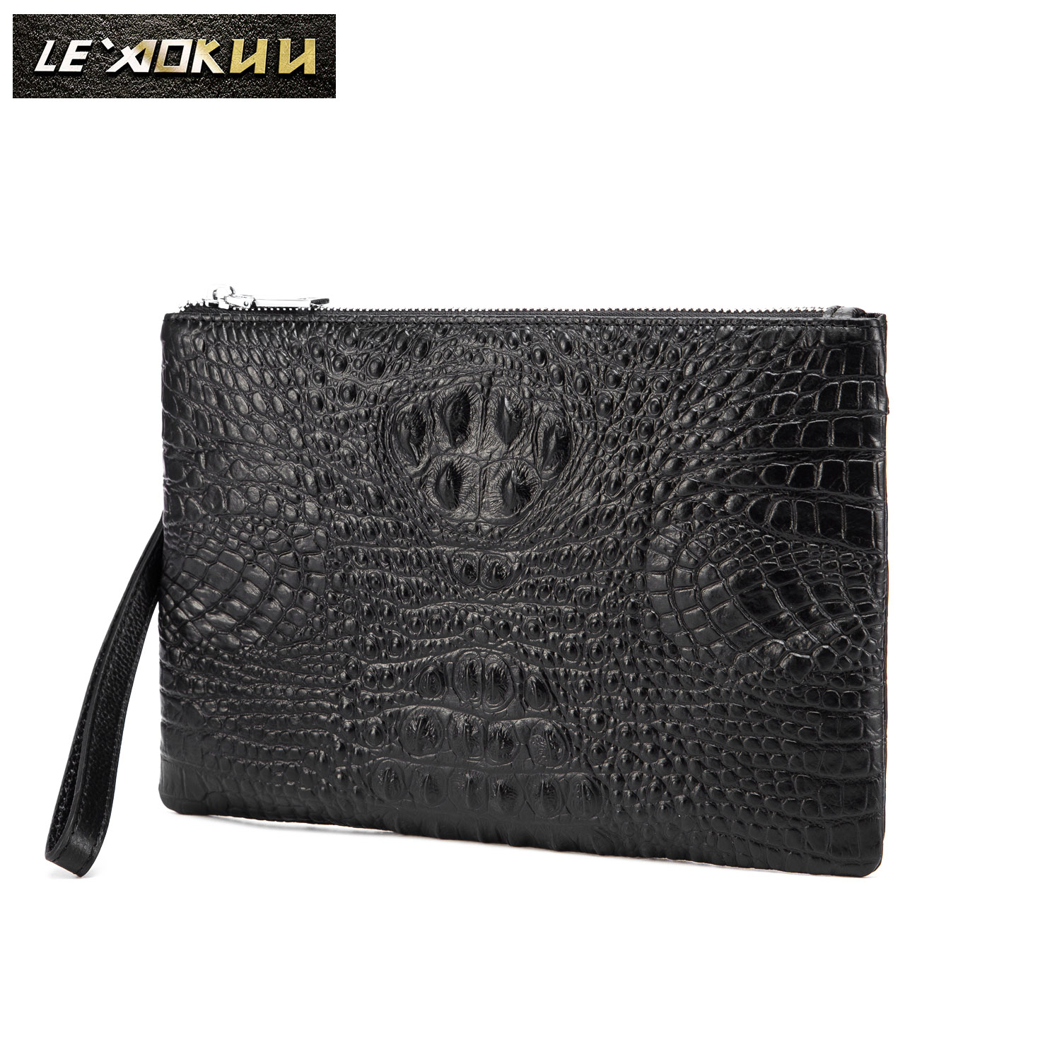 "Original leather Men Brand Fashion Slim Under Arm Clutch Bag Handbag Designer Chain Organizer Purse 10"" Tablet Case 9130(China)"