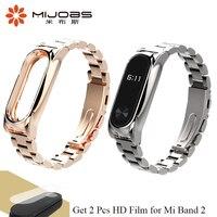 Mijobs Mi Band 2 Metal Strap Wristband No Screw Stainless Steel Bracelet For Xiaomi Mi Band