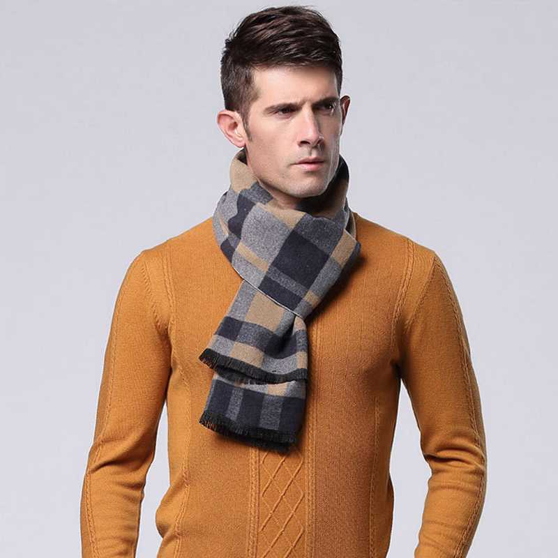 Hot Sale Men Cashmere Scarf font b Tartan b font Casual Echarpes Foulards Winter Spring Chic