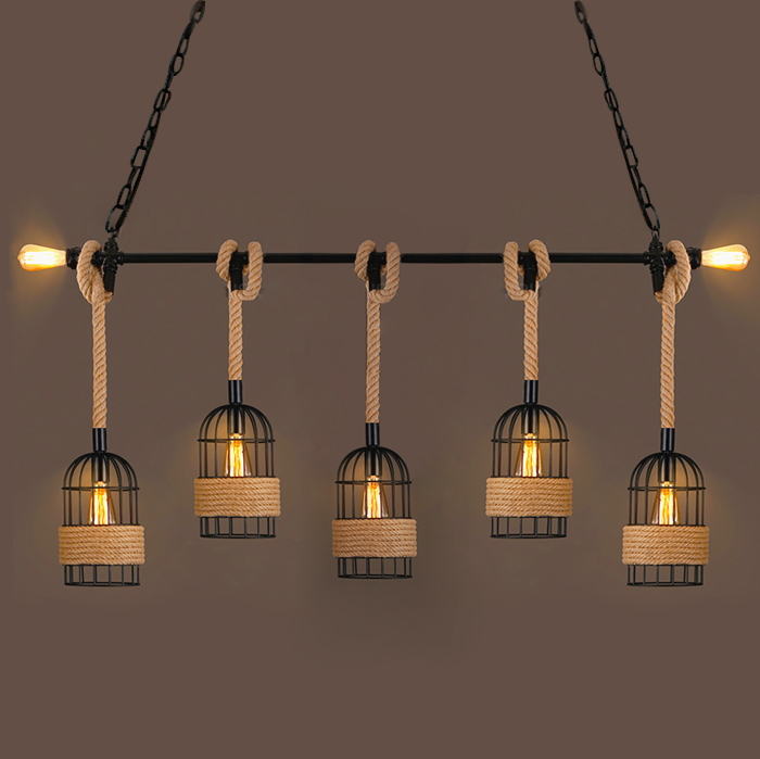 Loft retro industrial pipe hemp rope pendant light bar restaurant personalized network cafe bar clothing shop hanging lamp new loft vintage iron pendant light industrial lighting glass guard design bar cafe restaurant cage pendant lamp hanging lights