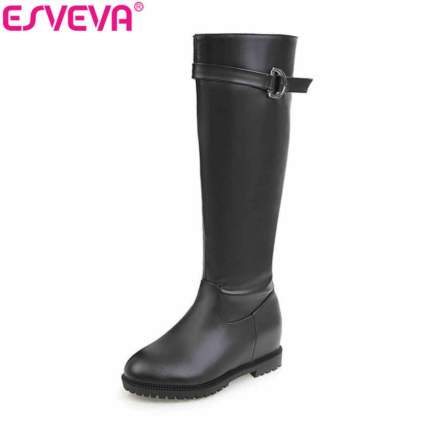 ESVEVA 2018 kadın çizmeler fermuar yüksekliği artan kısa peluş botları diz yüksek çizmeler Med topuklu bayan ayakkabı yuvarlak ayak boyutu 34-43