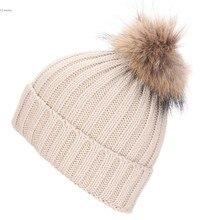 Шапочка Женщины Вязание Hat Вязание Толщиной Согреться Зимой и Осенью На Открытом Воздухе Случайный Крышка Меховым Помпоном шапка норковая женская