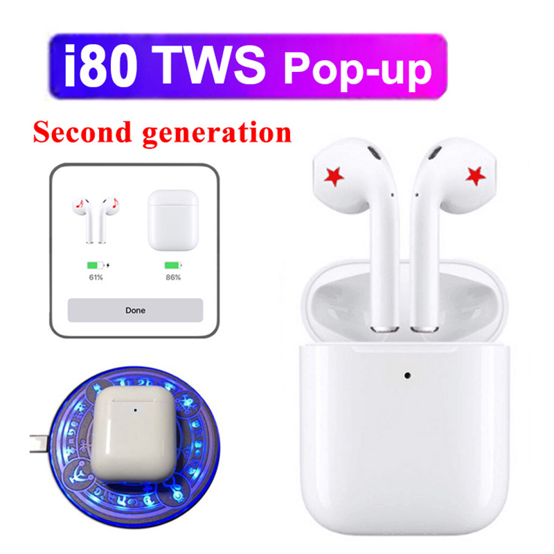 <font><b>i80</b></font> <font><b>Tws</b></font> Pop-up Wireless Bluetooth Earphones Tap Control Earbuds 1:1 Size Headset Pk i10 i12 i20 i30 i60 <font><b>tws</b></font> image