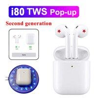 i80 Tws Pop up Wireless Bluetooth Earphones Tap Control Earbuds 1:1 Size Headset Pk i10 i12 i20 i30 i60 tws