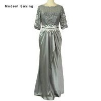 Elegant Grey Beaded Waist Lace Evening Dresses 2016 With Sleeves Vestido Mother Of The Bride Dress