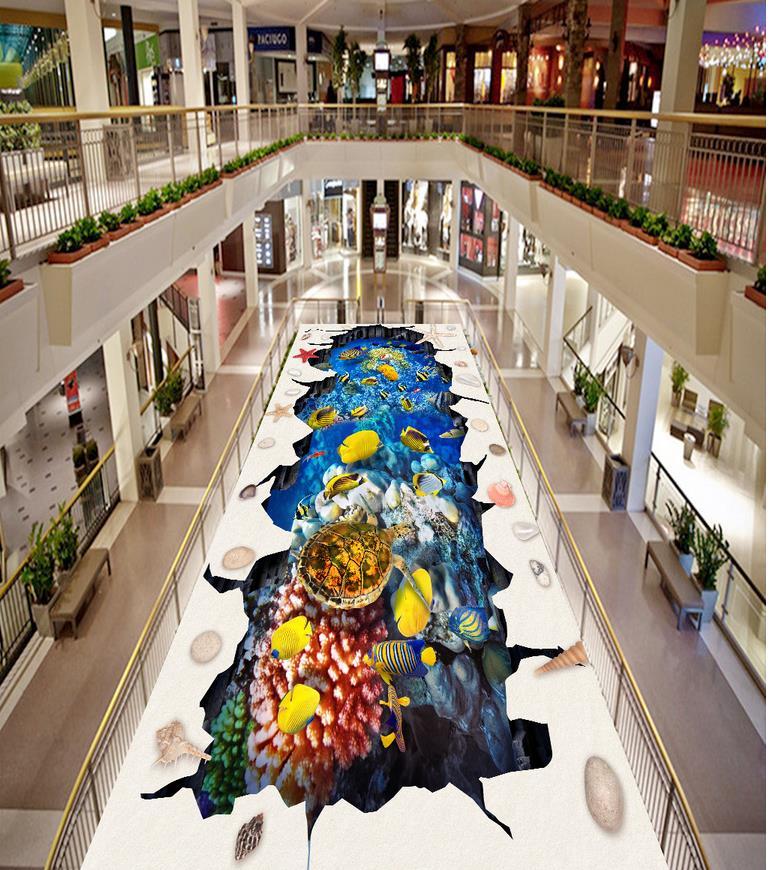 3d plancher sous-marin monde dauphin tortue coquilles et étoile de mer 3D stéréoscopique plancher pvc plancher papier peint