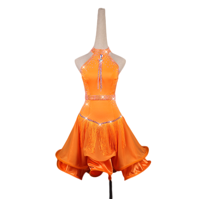 Femmes sur mesure robe de danse latine Sexy Orange gland strass robes Latin Salsa Chacha Costumes de compétition Standard