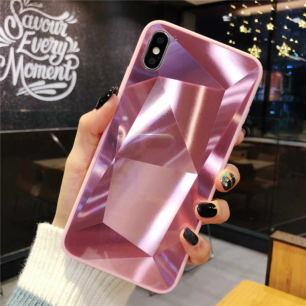 3D Diamant prism holografische laser Case Voor iPhone 6 6s 7 8 Plus Xs Max XR X 11 11Pro max Glossy crystal Zachte rand Cover Funda