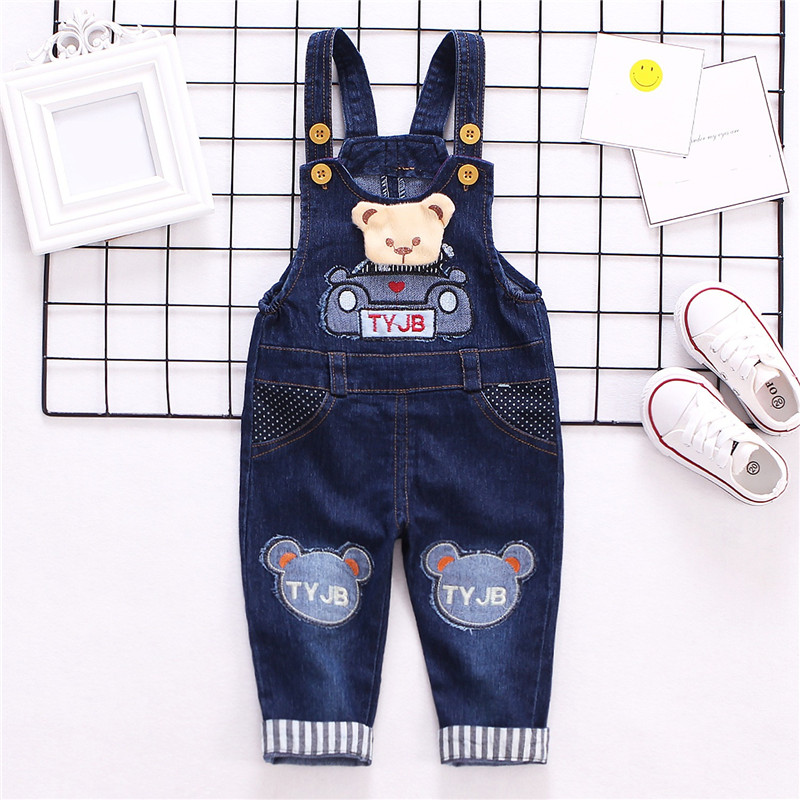 2019 Cute Baby Rompers Baby Denim Jumpsuit Romper Cartoon Bear Baby Overalls For Boys Girls Infant Baby Clothes Jeans Jumpsuit