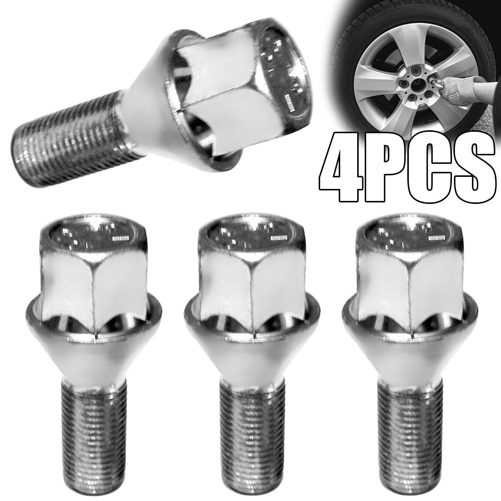 4pcs/set M12 x 1.5 Wheel Bolt 17mm Hex Tapered Seat Alloy Car Wheel Bolt Nut Set For Car Wheel Tire Replacement Parts