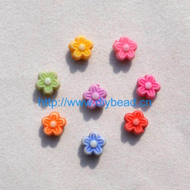DIY ювелирные изделия аксессуар винтажные акриловые бусы 7 мм пять лепестков цветок смешанный цвет мультфильм цветок Детские ювелирные аксессуары