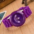 Moda Folha de grama relógio Marca de esportes dos homens das mulheres da geléia de silicone assistir relogio feminino 2016 Nova quartz relógio de pulso reloj hombre