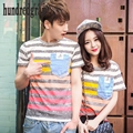 2017 summer new couple thick stripes round neck pocket short-sleeved t-shirt compassionate men and women-dod408