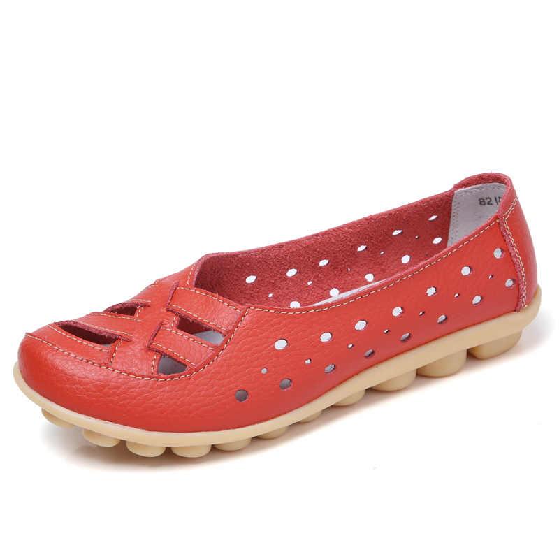Plardin Artı Boyutu 35-44 Kadın Moda Yeni Hollow Out Flats Ayakkabı Slip-on Konfor yumuşak rahat ayakkabılar Kadın tembel Ayakkabı Kadın