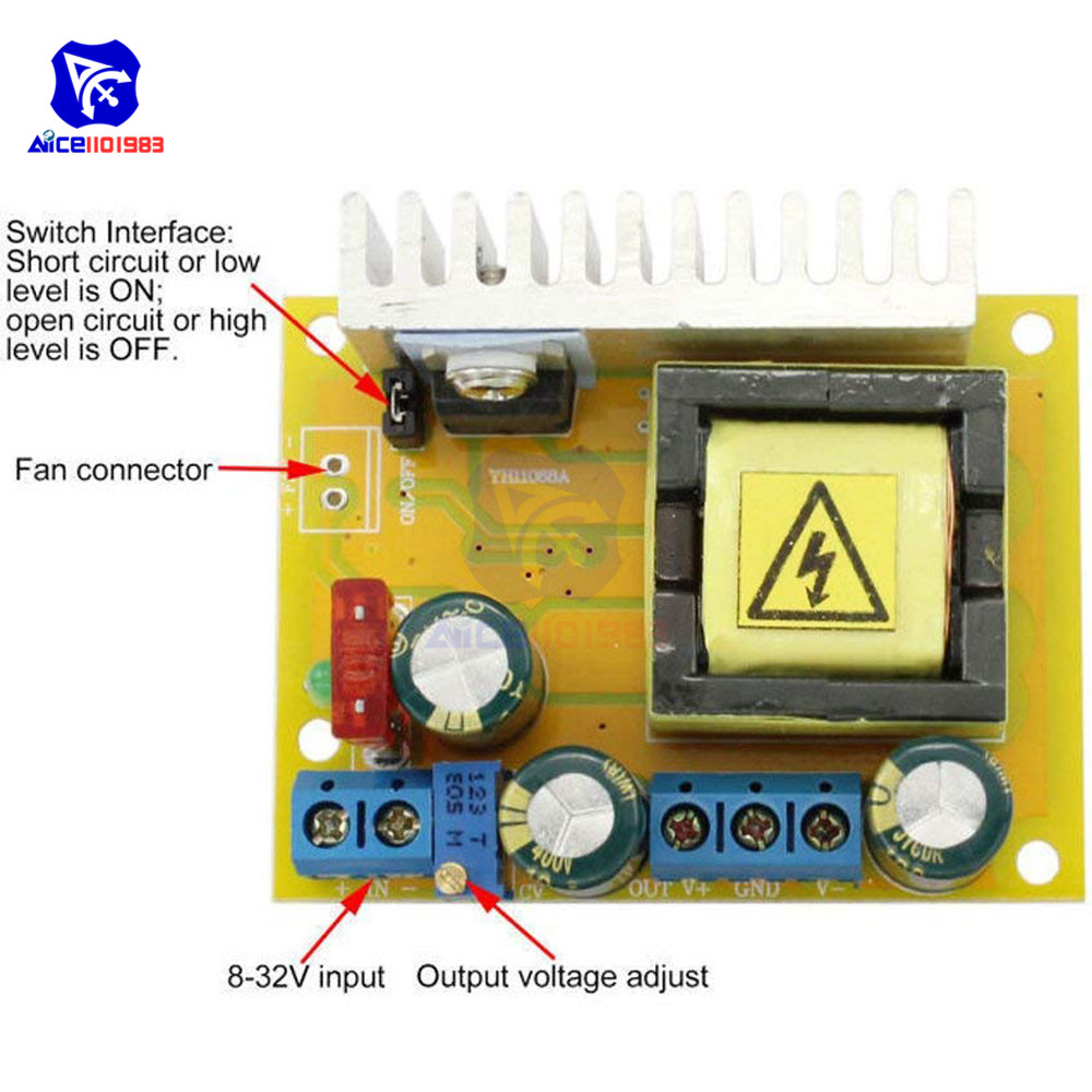 Image 2 - High Voltage DC DC Boost Converter 8V 32V to ±5V 390V Adjustable ZVS Capacitor Charging Power Supply Module-in Integrated Circuits from Electronic Components & Supplies