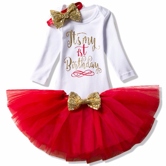 74a2af1bd Baby Girls Clothing Red Christmas Costume 1st Birthday Outfits ...