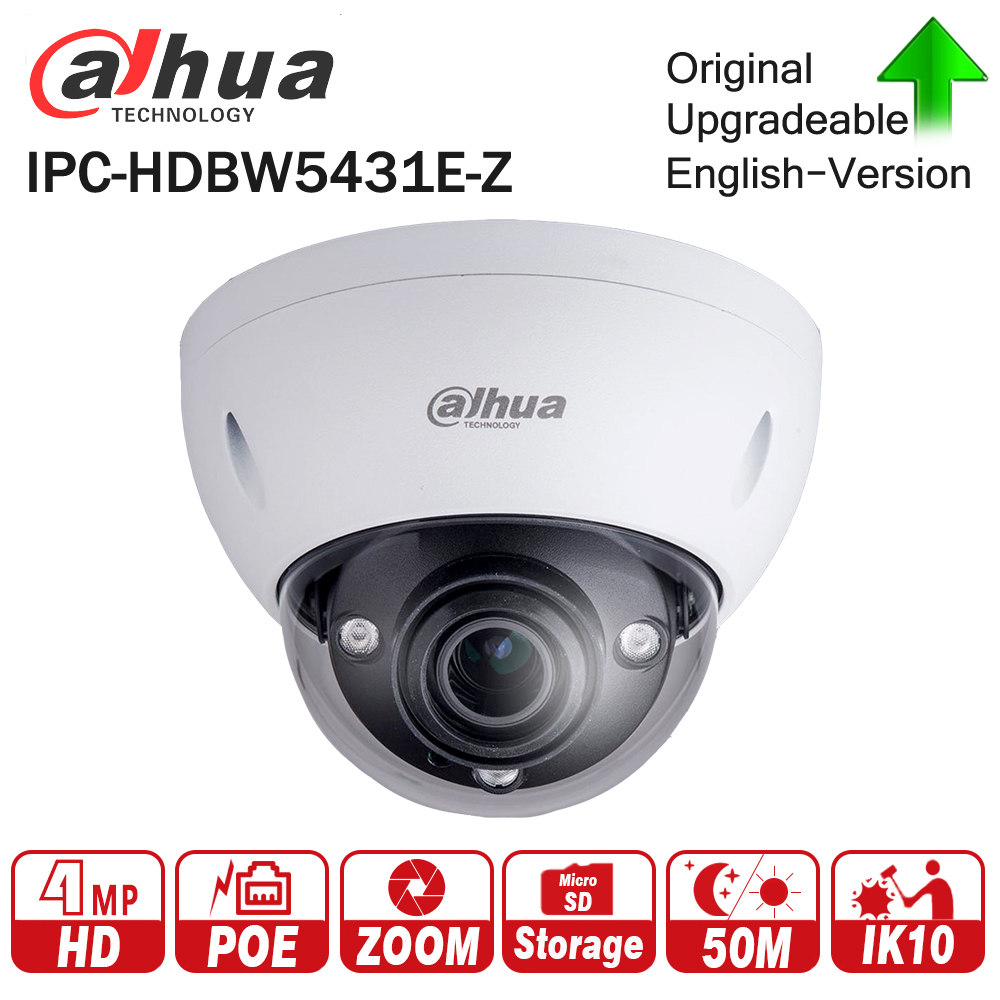 Dahua IPC-HDBW5431E-Z 4MP WDR IR Dome Network IP Camera 2.7mm-12mm Motorized Lens 50m IR Support Micro SD Card IP67 IK10 PoE free shipping dahua cctv camera 4k 8mp wdr ir mini bullet network camera ip67 with poe without logo ipc hfw4831e se