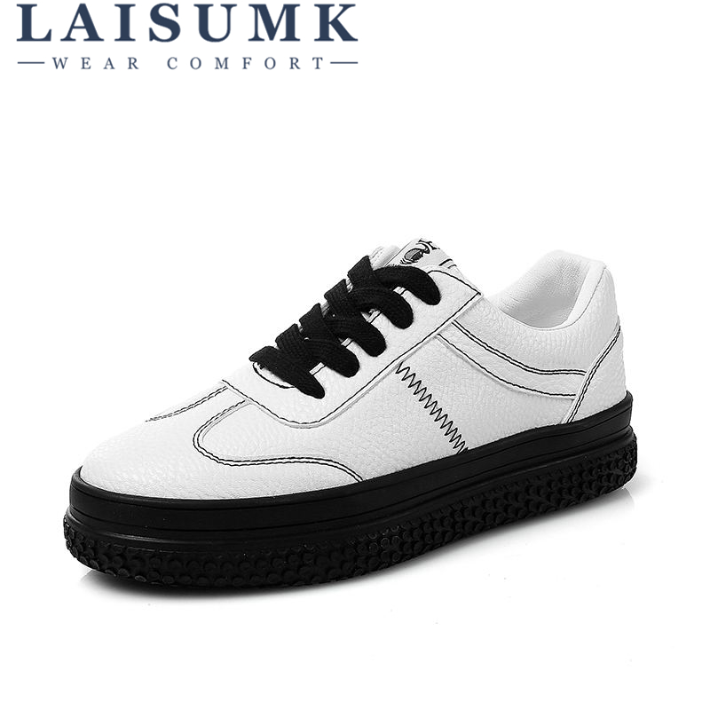 2018 LAISUMK Breathable Leather Women Shoes Summer Women Causal Shoes Hole Comfortable Sneakers Women Brand Flat Shoes free shipping candy color women garden shoes breathable women beach shoes hsa21